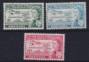 Grenada - 1958 Inauguration of Caribbean Federation - Set of 3 - Unmounted Mint