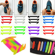 12PCS No Tie Elastic Silicone Shoe Laces Shoelaces Sneakers Runners Child Adult