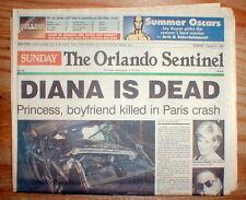1997 headline display newspaper PRINCESS DIANA DEAD in car crash in PARIS France