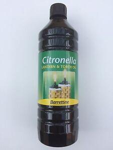 1 LITRE BARRETTINE PREMIUM CITRONELLA TORCH / LAMP / FLARE OIL OUTDOOR BA