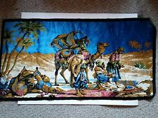"Vintage Tapestry~2 Camels and 3 Men ""37.25 X 19"" Made in Italy"