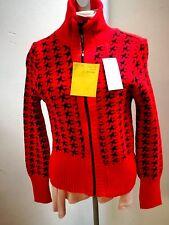 Strick-Jacke-Damen rot 34/36, RV, Stehkragen, Hahnentritt-Muster schwarz, 30°Wä,