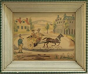 """Vintage Victorian V.A.P Co. Mini 6"""" Print Lithograph Art Marked Neisner's Store"""