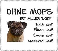 """Displayreinigunstuch Mops """"ALLES DOOF"""" Brillenputztuch Hund NEU GT0011"""