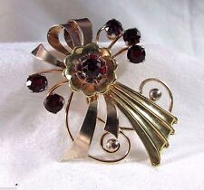 50's Vintage By Harry Iskin Sterling Silver BROOCH PIN Gold Plate Red CZ Flowers