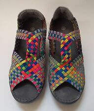 Bernie Mev BM Shoes Peep Toe Weave Colorful Wedge Heels Size 39 / US 8.5