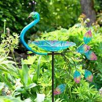 X-Large Peacock Bird Bath Stake, Glass Bowl Bird Feeder, Outdoor Garden Decor