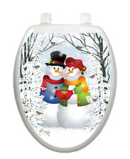Toilet Tattoos Snow Couple Toilet Lid Cover Vinyl Cover Removable Christmas