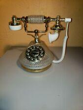 Vintage Columbia Telecommunication Victorian Push Button Phone Glass/Brasstone