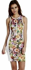Womans White Floral Dress | Ladies Summer Dress | Zip Up Body Con Dress | SALE