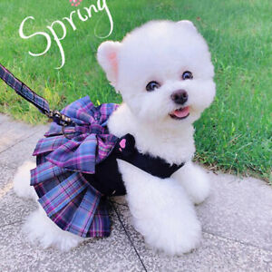 Pet Dog Cat Clothes Summer Spring Dog Dress With Harness Leash Chihuahua Skirt