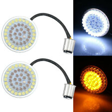 """2"""" Bullet Style 1157 White Amber Turn Signal Inserts Panel Indicator For Harley"""
