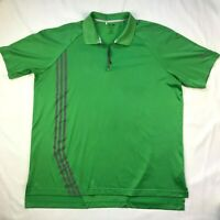 Adidas ClimaCool Polo Golf Shirt Mens XL Green Gray Stripes Quarter Zip