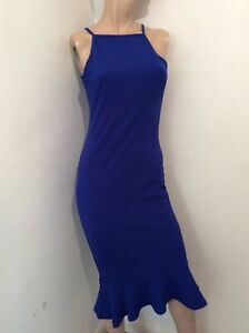 Royal Blue stretch mid length body con dress size 10