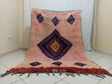 "Handmade Vintage Moroccan Rug,4'42""x 6'69"" ft,Berber Diamond Pink Moroccan Rug"