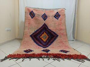 """Berber Handmade Vintage Diamond Pink Moroccan Rug 4'42""""x 6'69"""" Old Wool Area Rug"""