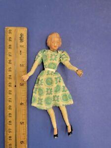 Vintage Caco Dollhouse Miniature Mom Lady Doll - Metal Hands & Feet 1940s