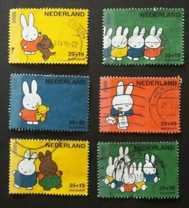 NETHERLANDS USED 2005 MIFFY RABBIT 6 VALUE VF COMPLETE SET SC# B745 a -f