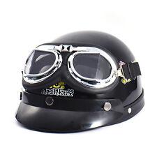 Helmet Chrome Leather Eyewear Goggles Motorcycle Vintage Pilot Biker Black Lens