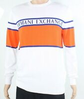 Armani Exchange Mens Sweater Orange White Size XL Crewneck Colorblock $90- #302