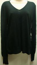 *NWT Stunning Lauren Ralph Lauren Black Silk/Cashmere V-Neck Beaded Sweater sz M