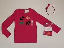 NWT Gymboree Cheery All The Way 7 Scottie Top 6 Leggings Hair Set Outfit Girls