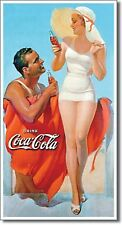 "COCA COLA GIRL AND GUY ON BEACH SURF SURFING SURFBOARD FIN 8.5"" X 16"" METAL SIGN"