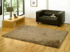 LARGE EXTRA THICK LUXURIOUS 6cmDEEP PILE SHAGGY BROWN BEIGE GOLD MIX RUG 120x170