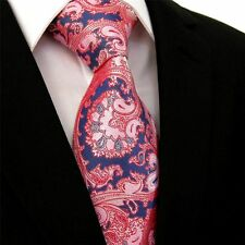 Mens Tie SALMON Pink Satin Pinkish -Wedding SALE- Blue & Red Paisley Silk Floral