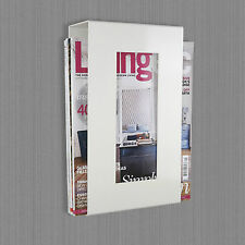 Contemporary Wall Mounted Magazine Newspaper Storage Rack in White