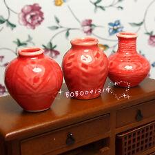 Dollhouse Miniature 1:12 Toy 3 pcs Porcelaine red jar Vases Height 3cm L-307