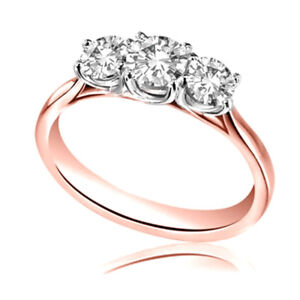 2.00 Ct Diamond Engagement Round Real 14K Rose Gold Anniversary Rings Size 8.5