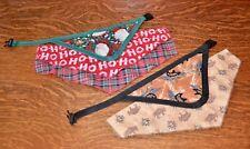 Lot Of 5 Dog Bandanas/Scarf - 2 Hook On & 3 Slide Over - Christmas & Other -New
