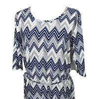 5th Love Womens Blue White Chevron Stretch Tie Belt Dress Size Small NWT