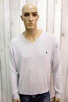 RALPH LAUREN Uomo Taglia L Maglione Grigio Cotone Sweater Pullover Maglietta