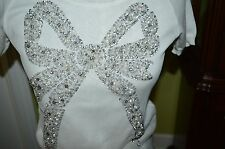 BLUGIRL BY BLUMARINE WHITE KNIT PULLOVER TOP SHORT SLEEVE EMBROID SZ-IT-40/US-XS