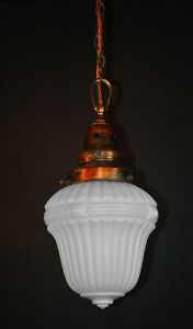 Vintage 1930s Rare Art Deco Opaline milk glass school house pendant light