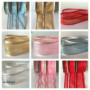 PREMIUM !!!  Satin Edge With Metallic Gold Stripe Organza Sheer Chiffon Ribbon