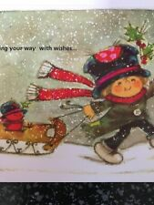 Unused Christmas Card Matching Envelope Gibson Boy Red Bird Sled scarf Hat Snow