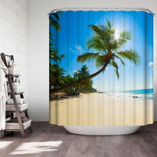 Modren 3D   Tree Beach Bathroom Decor Waterproof Fabric Shower Curtain