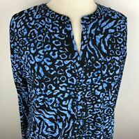 Dana Buchman Women's 3/4 Sleeve Top Blouse Size S Blue V-Neck Animal Print
