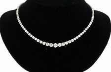 18K WHITE GOLD & 17.50 CARATS SPARKLING DIAMONDS GRADUATED TENNIS NECKLACE