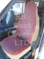 TO FIT A PEUGEOT BOXER MOTORHOME, 2014, SEAT COVERS, BURGUNDY SUEDE, 2 FRONTS