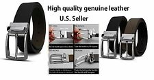 One Reversible Mens Belt Black and Brown Leather with Silver Buckle Gift #VB002