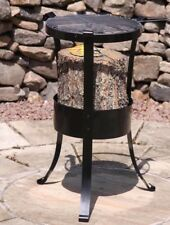 GARDECO - SWEDISH LOG BURNER - FIRE PIT WITH BBQ GRILL IN BLACK - H58 X D30cms