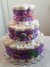 3 Tier Mermaid Under the Sea Diaper Cake Baby Shower Centerpiece Gift - Purple