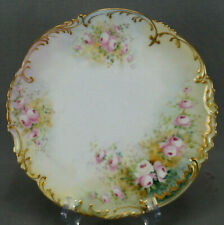 Bawo & Dotter Limoges Hand Painted Pink Roses Green & Gold Luncheon Plate A