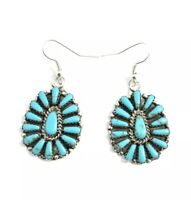 Native American Sterling Silver Navajo Handmade Turquoise Cluster Earrings