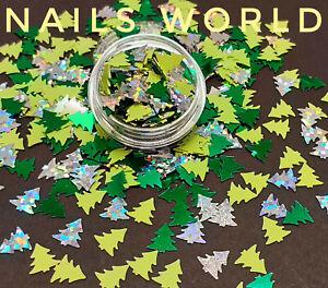 Mix Christmas Tree 7x8mm Holographic 3D Nail Art Glitter Sequins Shining Xmas