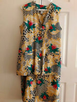 Sherie Collection women's skirt suit 100% silk sleeveless  lined button down 12
